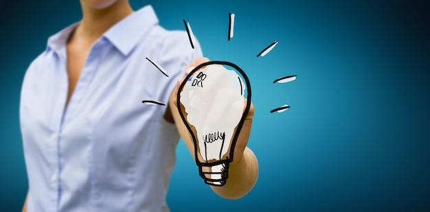Mulher negócio, desenho, lightbulb