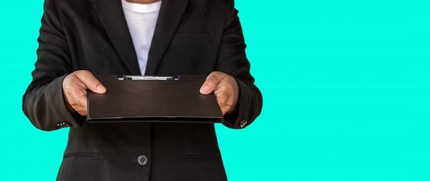 Mulher negócio, entregue documento, arquivo, para, cliente