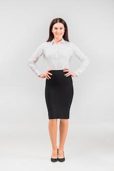 Mulher negócio, holing, mãos, ligado, cintura