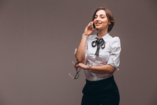 Mulher negócio, isolado, conversa telefone