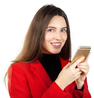 Mulher negócio, usando, smartphone
