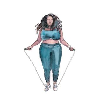Mulher negra plus size pulando corda com tênis