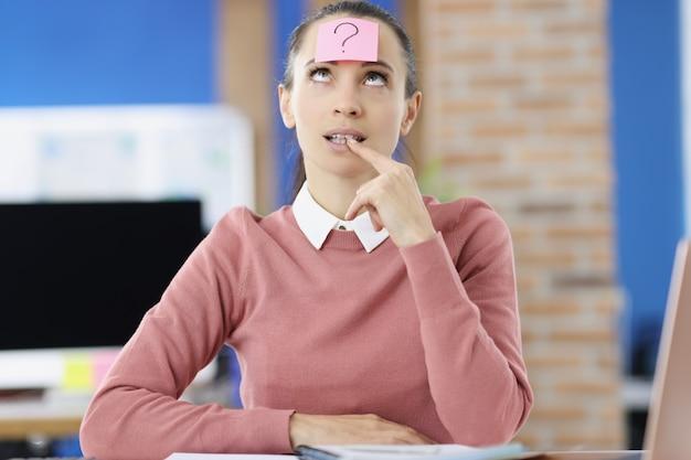 Mulher pensativa na cabeça com adesivo com ponto de interrogação - novas ideias para o conceito de negócio