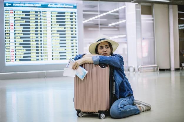 Mulher, perdido, avião