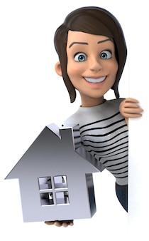 Mulher personagem casual de desenho animado 3d