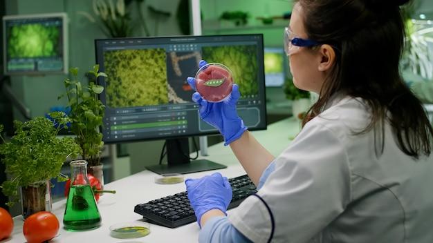 Mulher pesquisadora bióloga analisando carne bovina vegana para experimento de microbiologia. químico, cientista e pesquisador, examinando alimentos geneticamente modificados usando experiência biológica em tipagem de substância química