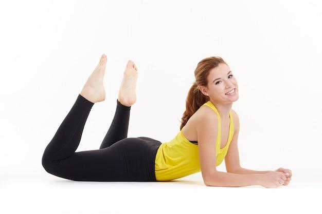 Mulher, pilates, exercícios, condicão física, isolado