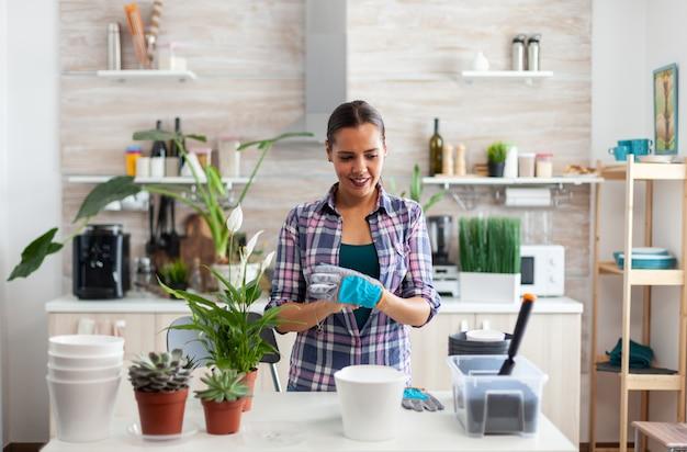 Mulher plantando casa na cozinha usando luvas de jardinagem