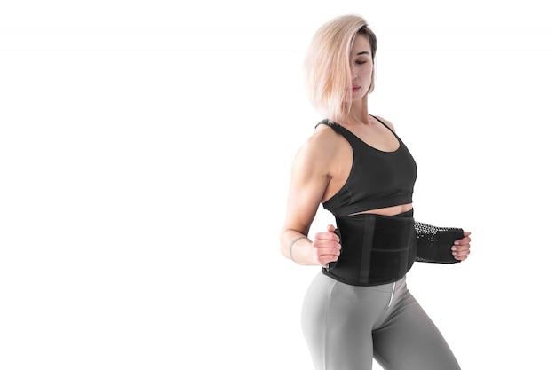 Mulher, pôr, aptidão, costas, cinto, emagrecimento