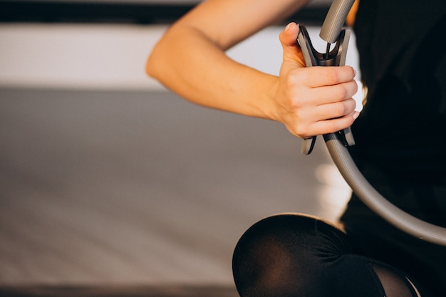Mulher, prática, ioga, e, pilates