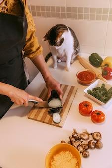 Mulher preparando pizza deliciosa com seu gato doce. conceito feito em casa.