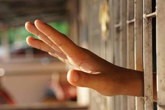 Mulher presa em uma sala use as mãos para alcançar a janela e pedir ajuda.