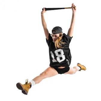 Mulher, pular, e, jogando basebol