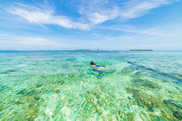 Mulher que mergulha nas caraíbas na água azul de turquesa tropical do recife de corais.