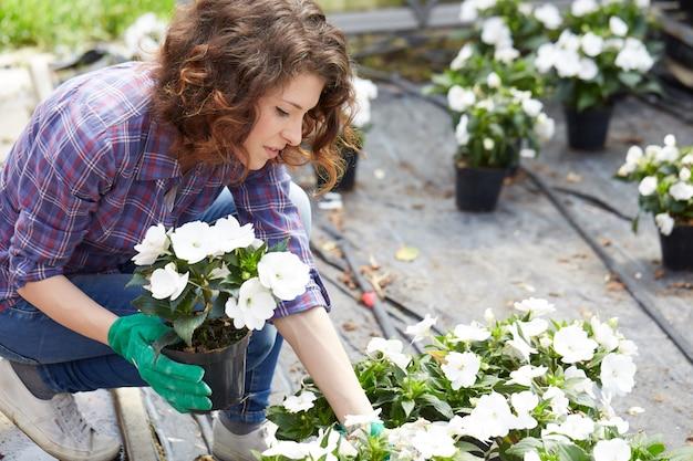 Mulher que trabalha em uma loja de jardinagem