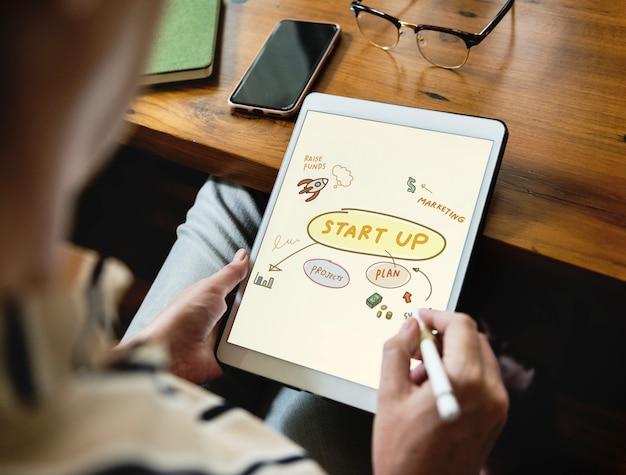 Mulher rabiscando ideias de inicialização em um tablet