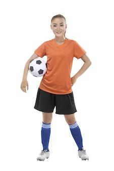 Mulher segura, bola futebol