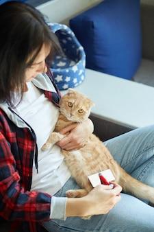 Mulher segura gato ruivo britânico e penteia o pelo em casa.
