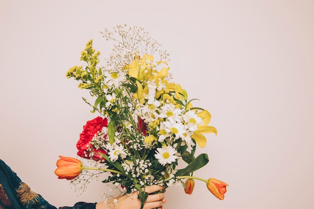 Mulher segura, grupo, de, fresco, aromático, flores