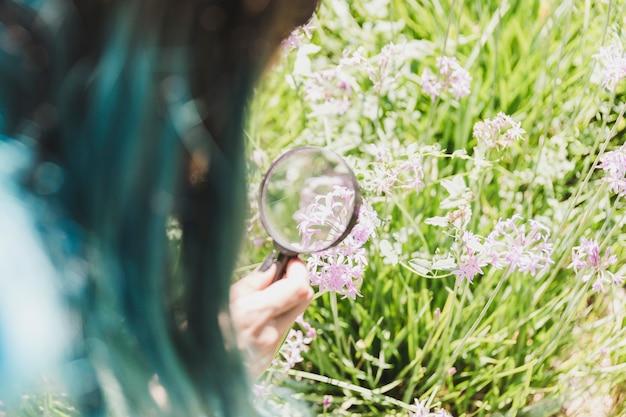 Mulher segura, lupa, sobre, a, flor