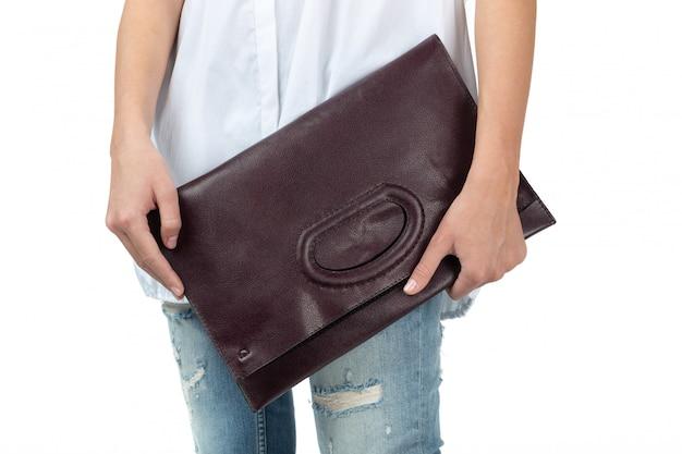 Mulher segura, um, bolsa, isolado, branco