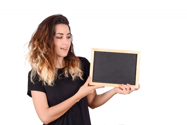 Mulher segura, um, chalkboard