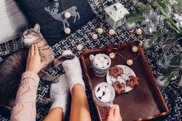 Mulher segura uma xícara de chocolate embaixo da árvore de natal enquanto brinca com seu gato cinza