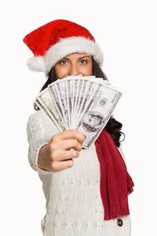 Mulher, segurando, algum, dinheiro