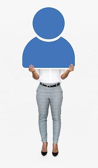 Mulher, segurando, azul, usuário, ícone