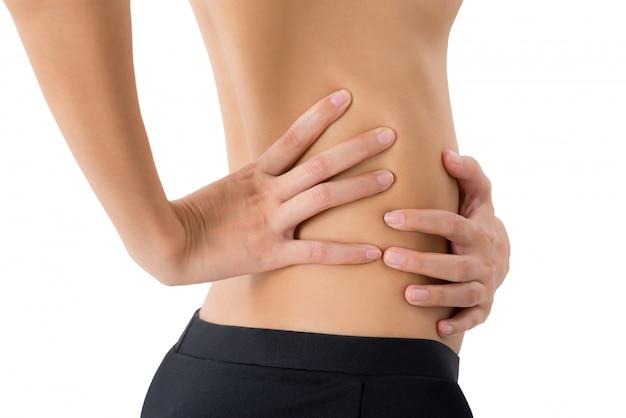 Mulher, segurando, dela, costas, e, massaging, em, dor, área, isolado, branco