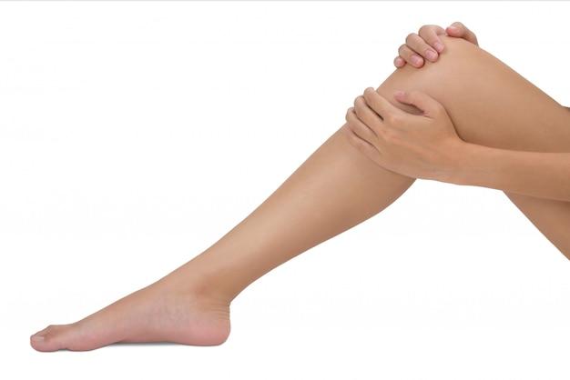 Mulher, segurando, dela, perna, com, massaging, joelho, em, dor, área, isolado, branco