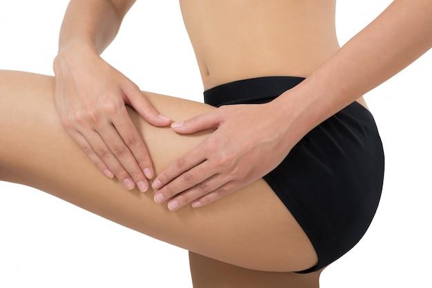 Mulher, segurando, e, massaging, dela, coxa, em, dor, área, isolado, branco
