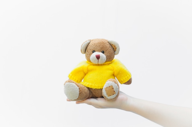Mulher segurando e protegendo o brinquedo de um ursinho de pelúcia marrom usa camisetas amarelas sentadas em um plano de fundo branco, símbolo do amor ou namoro