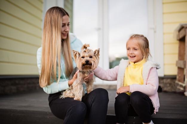 Mulher, segurando, pequeno, cão, yorkshire terrier, ao ar livre