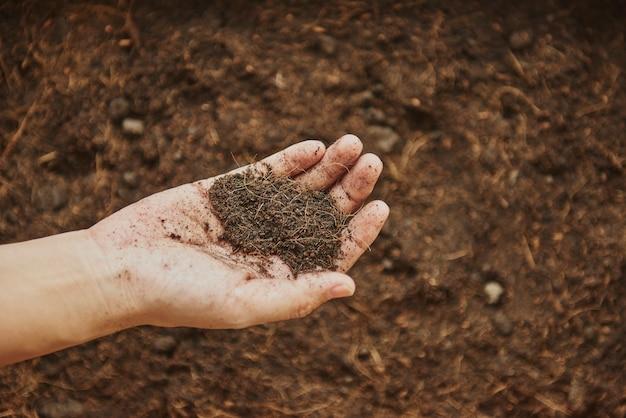Mulher segurando terra na mão