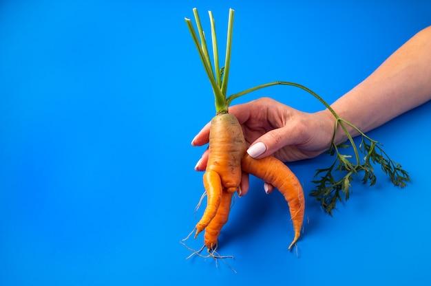 Mulher segurando uma cenoura com formato incomum