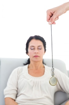 Mulher, sendo, hipnotizado