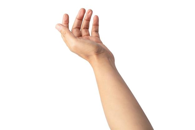 Mulher senhora asiática linda mão vazia isolada no fundo branco com traçado de recorte.