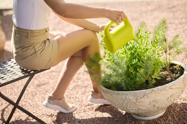 Mulher sentada na cadeira de jardim regando flores