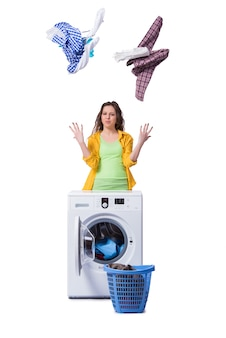 Mulher, sentimento, sressed, após, fazendo, sujo, lavanderia