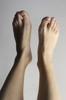 Mulher sexy, pés pernas, ligado, whit