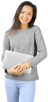 Mulher sorridente, com, computador laptop
