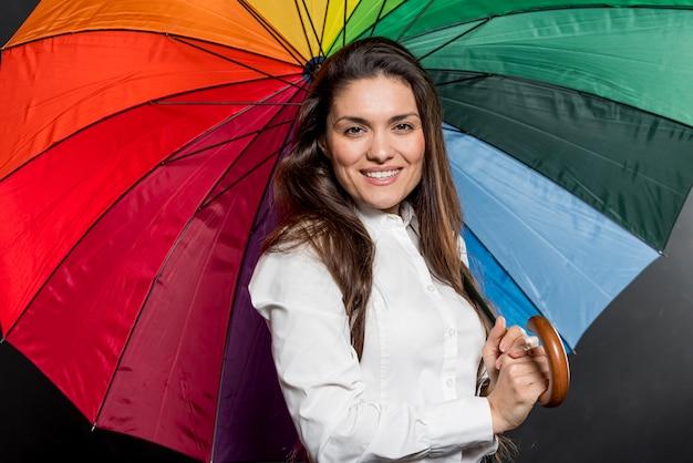 Mulher sorridente com guarda-chuva colorida aberta