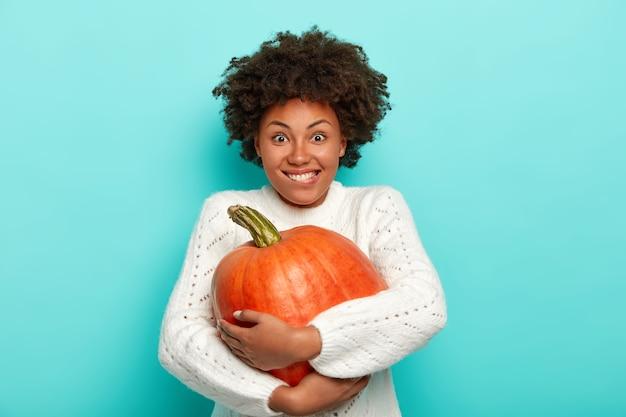 Mulher sorridente com penteado afro, morde os lábios, abraça a grande abóbora laranja, vestida com uma camisola branca durante o outono, isolada sobre fundo azul.