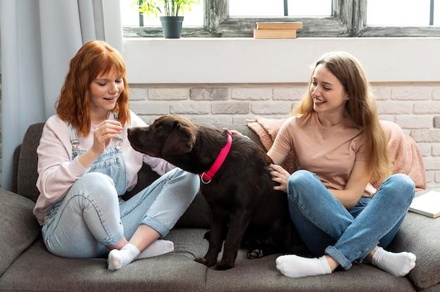 Mulher sorridente e cachorro no sofá