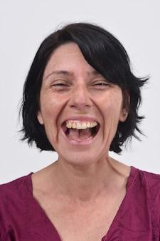 Mulher, sorrindo, com, dela, boca aberta