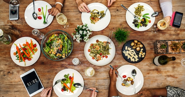 Mulher, tendo, jantar, partido