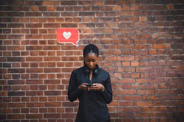 Mulher, texting, coração
