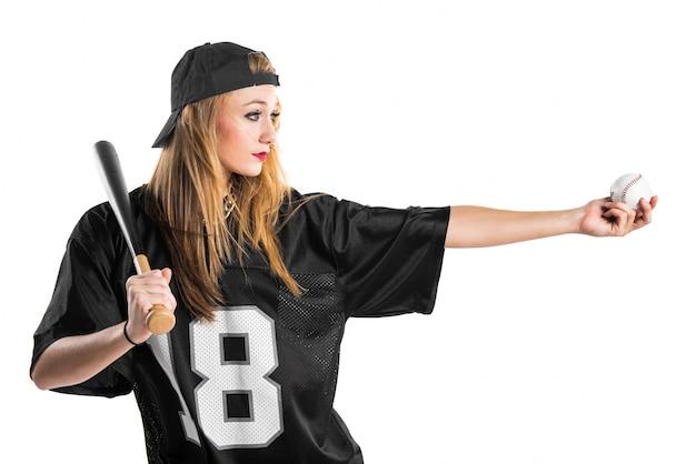 Mulher, tocando, basebol