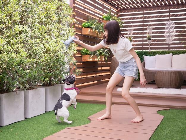 Mulher, tocando, com, cachorros, em, jardim